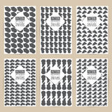 Vector black pattern set of Vintage background banner retro brochures templates cards six frames design Scribbled lines rectangles Royalty Free Stock Image