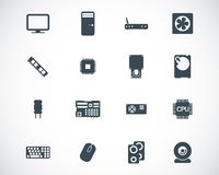 Vector black  PC components  icons Royalty Free Stock Photography