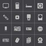 Vector black  PC components  icons set Stock Photography