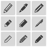 Vector black pencil icons set Stock Photos