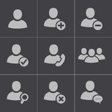 Vector black people icons set. On white background Stock Photography