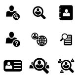 Vector black people search icon set Royalty Free Stock Image