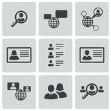 Vector black people search icons set Royalty Free Stock Image