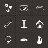 Vector black pet icons set. On black background Royalty Free Stock Image