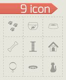 Vector black pet icons set. On grey background Royalty Free Stock Image