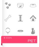 Vector black pet icons set. On white background Stock Photography