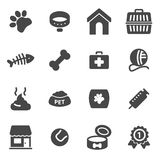Vector black pet icons set. On white background Stock Images