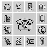 Vector black phone icons set Royalty Free Stock Image