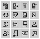 Vector black phone icons set Royalty Free Stock Images