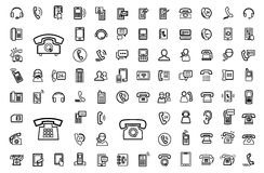 Vector black phone icons set Stock Photos