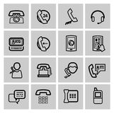 Vector black phone icons set Stock Photo