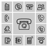 Vector black phone icons set Royalty Free Stock Photography