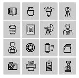 Vector black photo icons set Royalty Free Stock Photography
