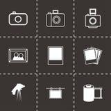 Vector black photo icons set. On black background Royalty Free Stock Photography