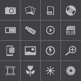 Vector black  photo icons set Stock Photography