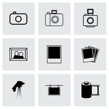 Vector black photo icons set Royalty Free Stock Images