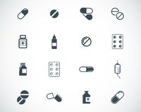 Vector black pills icon Stock Photos