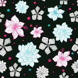 Vector Black Pink Blue Floral Drawing Seamless Stock Photo