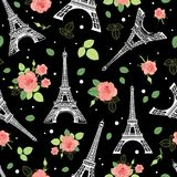 Vector Black Pink Eifel Tower Paris and Roses Flowers Seamless Repeat Pattern Surrounded By St Valentines Day Hearts Of. Love. Perfect for travel themed Stock Photos