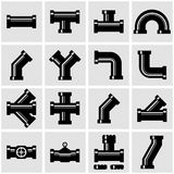 Vector black pipe fittings icon set Stock Photography