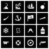Vector black pirate icon set Royalty Free Stock Images