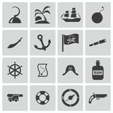Vector black pirates icons set Stock Photography
