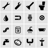 Vector black plumbing icon set Royalty Free Stock Photography