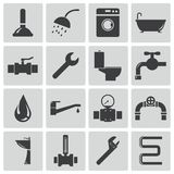 Vector black  plumbing  icons Royalty Free Stock Photo