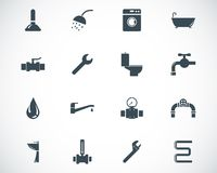 Vector black  plumbing  icons Royalty Free Stock Images