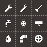 Vector black plumbing icons set. On black background Stock Images