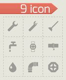 Vector black plumbing icons set Royalty Free Stock Photos