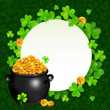 Vector black pot of magic gold on clovers circle Royalty Free Stock Photo