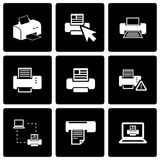 Vector black printer icon set Stock Photos