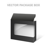 Vector Black Product Package Box, Transparent, White inside. Isolated on white Royalty Free Stock Photography