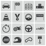 Vector black  racing icons. Set Royalty Free Stock Photo