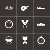 Vector black racing icons set. On black background Royalty Free Stock Images