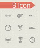 Vector black racing icons set. On grey background Royalty Free Stock Images