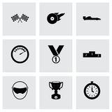 Vector black racing icons set. On grey background Royalty Free Stock Photo