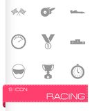 Vector black racing icons set. On white background Stock Images