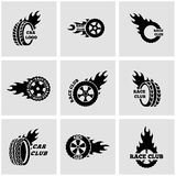 Vector black Racing labels icon set Stock Photography