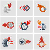Vector black Racing labels icon set Stock Photo