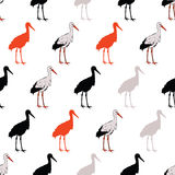 Vector Black Rad Standing Cranes Seamless Pattern Royalty Free Stock Images