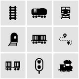 Vector black railroad icon set Royalty Free Stock Photos