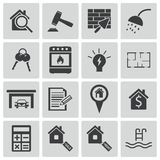 Vector black  rea estatel icons Royalty Free Stock Images