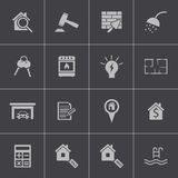 Vector black  rea estatel icons set Royalty Free Stock Photo
