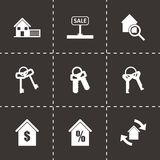 Vector black real estate icons set. On black background Royalty Free Stock Photos
