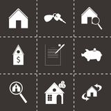 Vector black real estate icons set Stock Images