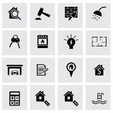 Vector black real estate icons set. On grey background Stock Image
