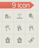 Vector black real estate icons set Royalty Free Stock Images