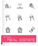 Vector black real estate icons set Stock Photo